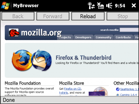 Le prime immagini di Firefox Mobile (nome in codice Fennec)